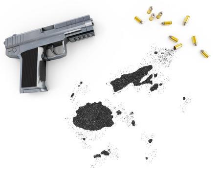 gunpowder: Gunpowder forming the shape of Fiji and a handgun.(series)