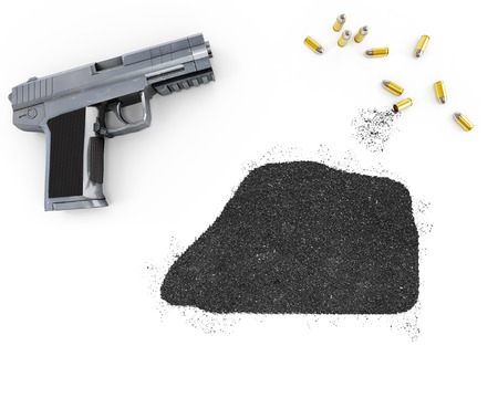 blackmail: Gunpowder forming the shape of Jarvis Island and a handgun.(series)
