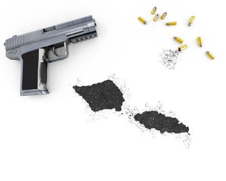 gunpowder: Gunpowder forming the shape of Samoa and a handgun.(series) Stock Photo
