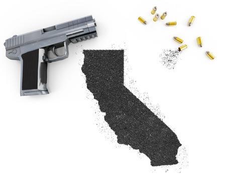 gunpowder: Gunpowder forming the shape of California and a handgun.(series)