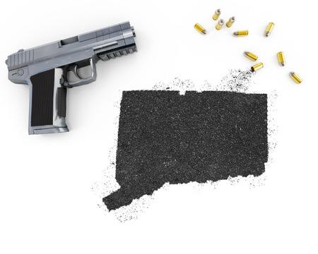 blackmail: Gunpowder forming the shape of Connecticut and a handgun.(series)