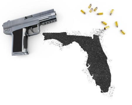 floridian: Gunpowder forming the shape of Florida and a handgun.(series)