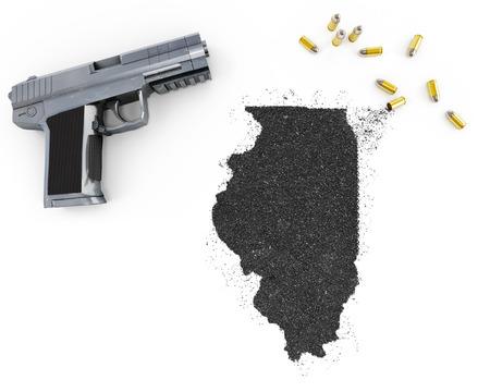 gunpowder: Gunpowder forming the shape of Illinois and a handgun.(series) Stock Photo