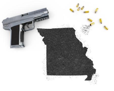 blackmail: Gunpowder forming the shape of Missouri and a handgun.(series)