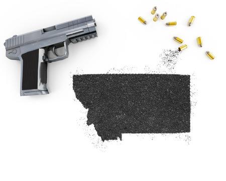 blackmail: Gunpowder forming the shape of Montana and a handgun.(series)