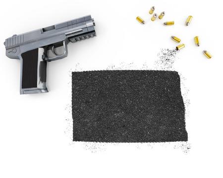 gunpowder: Gunpowder forming the shape of North Dakota and a handgun.(series)