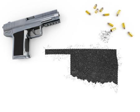 blackmail: Gunpowder forming the shape of Oklahoma and a handgun.(series)