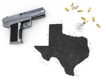 gunpowder: Gunpowder forming the shape of Texas and a handgun.(series)