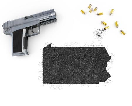 gunpowder: Gunpowder forming the shape of Pennsylvania and a handgun.(series)