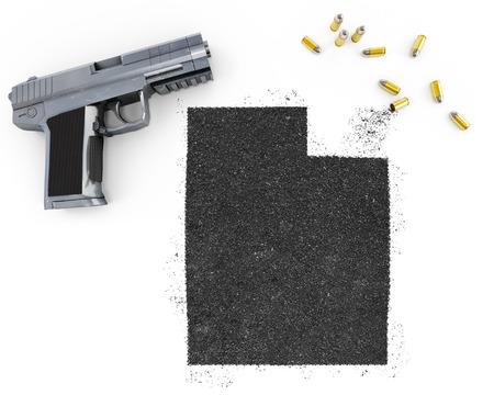 blackmail: Gunpowder forming the shape of Utah and a handgun.(series)