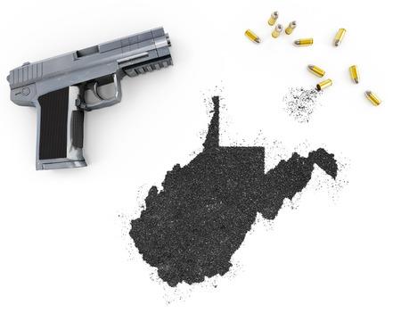 blackmail: Gunpowder forming the shape of West Virginia and a handgun.(series)