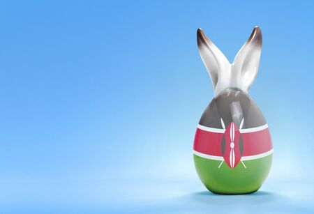 rabbit ears: Colorful cute ceramic easter egg with rabbit ears and the flag of Kenya .(series)