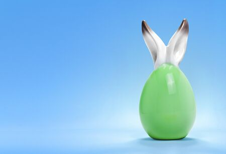 rabbit ears: Colorful cute ceramic easter egg with rabbit ears and the flag of Libya .(series) Stock Photo