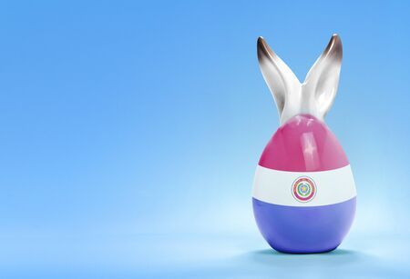 rabbit ears: Colorful cute ceramic easter egg with rabbit ears and the flag of Paraguay .(series)