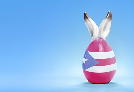 rabbit ears: Colorful cute ceramic easter egg with rabbit ears and the flag of Puerto Rico .(series) Stock Photo
