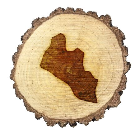BRANDED: A slice of oak and the shape of Liberia branded onto