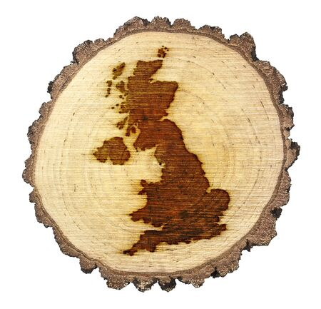 english oak: A slice of oak and the shape of United Kingdom branded onto .(series) Stock Photo