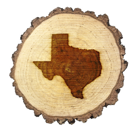 A slice of oak and the shape of Texas branded onto