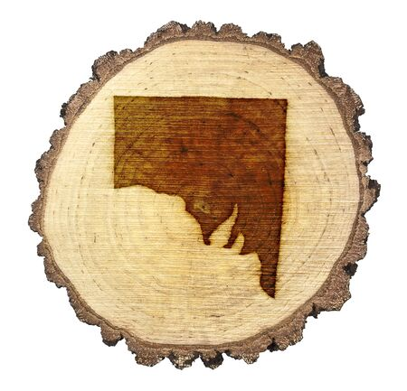A slice of oak and the shape of Southern Australia branded onto photo