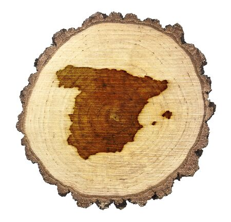 BRANDED: A slice of oak and the shape of Spain branded onto