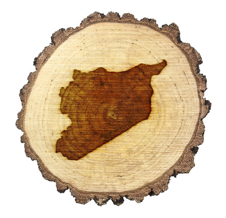 BRANDED: A slice of oak and the shape of Syria branded onto Stock Photo
