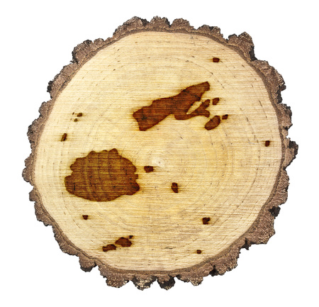 BRANDED: A slice of oak and the shape of Fiji branded onto