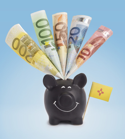 fifty euro banknote: Ten,twenty,fifty,one hundred and a 200 Euro banknote in a smiling piggybank of New Mexico.(series)