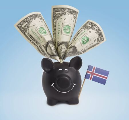 the icelandic flag: One dollar banknote in a smiling piggybank of Iceland.(series)