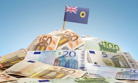 western australia: The national flag of Western Australia sticking in a pile of mixed european banknotes.(series)
