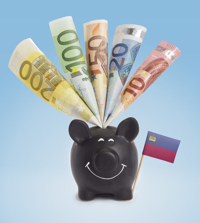 fifty euro banknote: Ten,twenty,fifty,one hundred and a 200 Euro banknote in a smiling piggybank of Lichtenstein.(series)