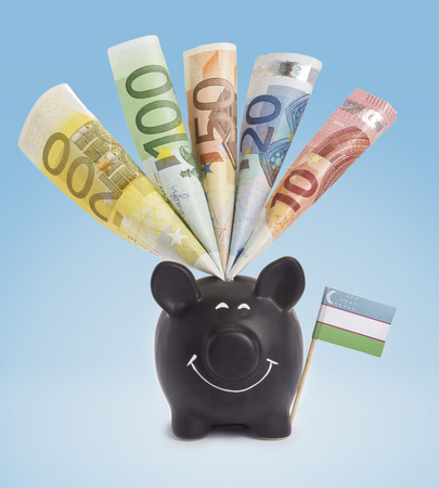 fifty euro banknote: Ten,twenty,fifty,one hundred and a 200 Euro banknote in a smiling piggybank of Uzbekistan.(series)
