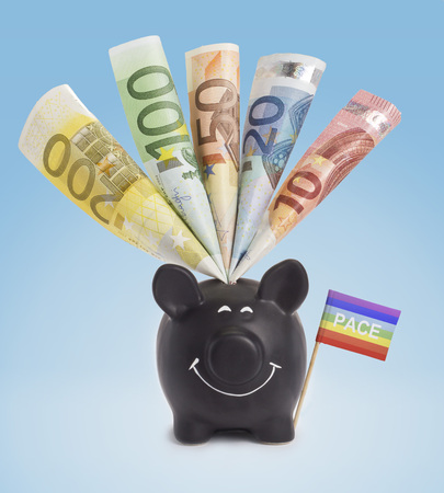 fifty euro banknote: Ten,twenty,fifty,one hundred and a 200 Euro banknote in a smiling piggybank of Peace.(series)
