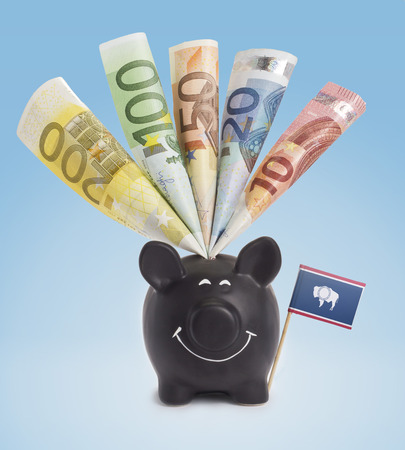 twenty euro banknote: Ten,twenty,fifty,one hundred and a 200 Euro banknote in a smiling piggybank of Wyoming.(series)