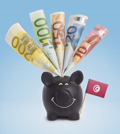 fifty euro banknote: Ten,twenty,fifty,one hundred and a 200 Euro banknote in a smiling piggybank of Tunisia.(series)