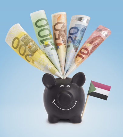 one hundred euro banknote: Ten,twenty,fifty,one hundred and a 200 Euro banknote in a smiling piggybank of Sudan.(series)