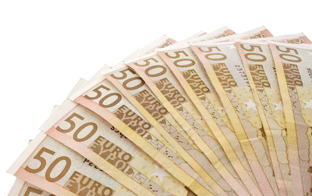 fanned: Several 50 euro banknotes fanned