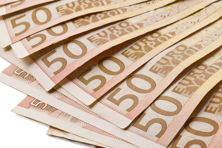 50 euro: Several 50 euro banknotes fanned