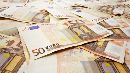 chaotically: A close up of several fifty euro banknotes chaotically aligned Stock Photo