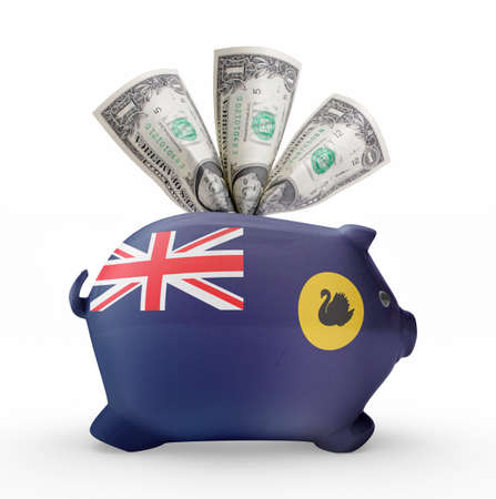bank western: Side view of a piggy bank with the flag design of Western Australia.(series)