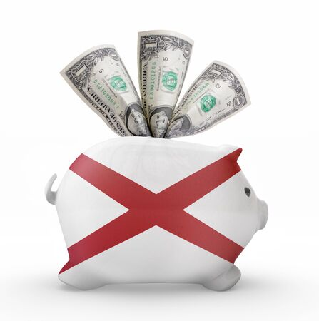alabama flag: Side view of a piggy bank with the flag design of Alabama.(series) Stock Photo