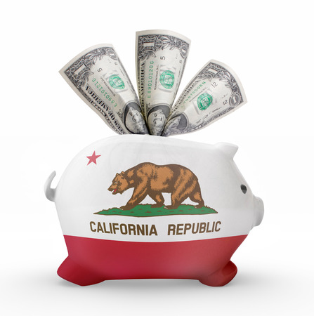 Side view of a piggy bank with the flag design of California.(series)