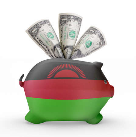 malawian: Side view of a piggy bank with the flag design of Malawi.(series)