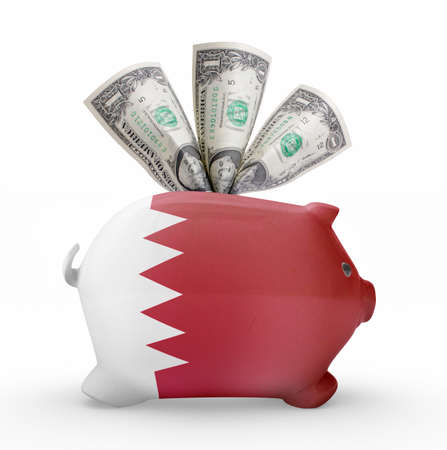 bahrain money: Side view of a piggy bank with the flag design of Bahrain.(series) Stock Photo