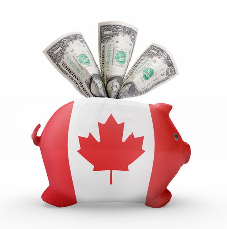 canadian cash: Side view of a piggy bank with the flag design of Canada.(series)