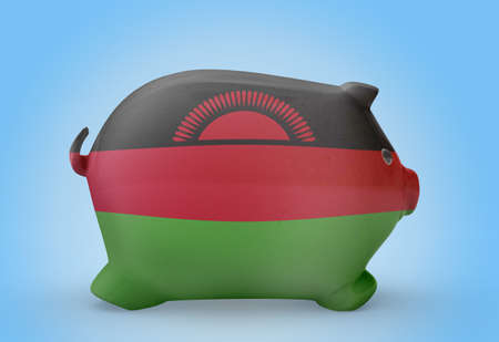 malawian flag: Side view of a piggy bank with the flag design of Malawi.(series)