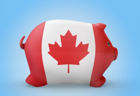 canadian coin: Side view of a piggy bank with the flag design of Canada.(series)