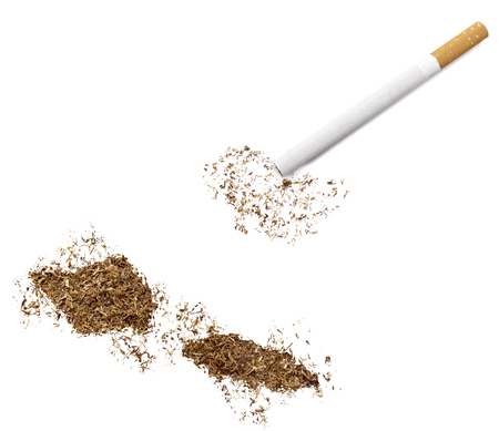 ciggy: The country shape of Samoa made of tobacco and a cigarette.(series)