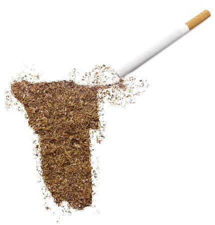 ciggy: The country shape of Namibia made of tobacco and a cigarette.(series)