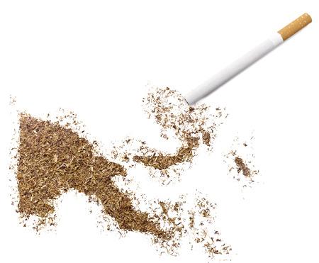ciggy: The country shape of Papua New Guinea made of tobacco and a cigarette.(series)