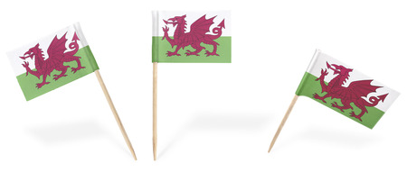 welsh flag: Small cocktail flags of Wales in different positions isolated on white.(series) . Also easy to use as a design element :)